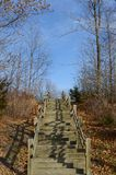 Stairway leading to the sky on hiking trail in NYS. Hiking trail during autumn climbing the stairway to the sky. Wood stairs leading up the hillside to plateau Royalty Free Stock Photo