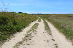 Hiking trail on breton coast Royalty Free Stock Photos