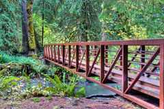Hiking trail with bridge crossing a river Royalty Free Stock Image