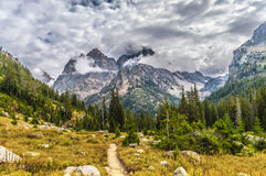 Hiking Trail in the Cascade Canyon - Grand Teton National Park Stock Images