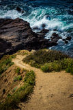 Hiking trail cascading down the treacherous cliffs. Of Flat Rock Point, Palos Verdes Estates, California Stock Photo