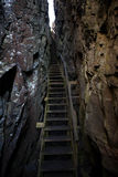 Hiking trail chasm. Small hiking trail on a small swedish island on the west coast royalty free stock photos