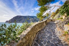 Hiking trail in Cinque Terre, Italy royalty free stock image