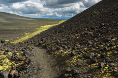 Hiking trail climb to North Breakthrough Great Tolbachik Fissure Eruption 1975 Stock Photos