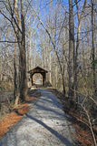 Hiking Trail with Covered Bridge Stock Images