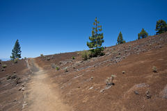 Hiking trail through desolate volcanic landscape. Canary Islands Spain royalty free stock photography
