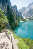 Hiking trail in the Dolomites Stock Photo