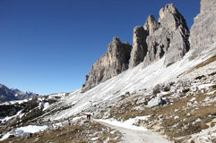 Hiking trail at Dolomites. Hiking trail to alpine hut Refugio Lavaredo, Italy Stock Photos