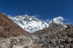 Hiking trail in Everest Base Camp Trek with. Stock Images