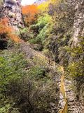 Hiking trail in fall. Beijing hiking trail fall color cloudy steps happy vacation trip fun wonderful beautiful royalty free stock photo
