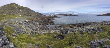Fogo Island landscape with icebergs Royalty Free Stock Photography