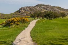 Hiking trail in golf club in Howth