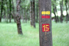 Hiking trail identification sign. Hiking trail identification on a tree Stock Photo