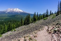 Free Hiking Trail In Siskiyou County; Shasta Mountain Covered In Snow Visible In The Background; Northern California Royalty Free Stock Photo - 137625545