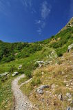 Hiking trail in the Italian Alps, National Park Val Grande Stock Photo