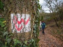 Hiking on the trail of Lahnwanderweg near Runkel, Hessen, Germany Royalty Free Stock Image