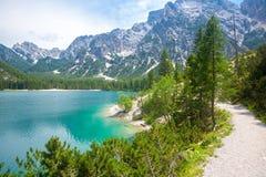 Hiking trail at Lake Braies Royalty Free Stock Photos
