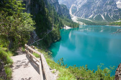 Hiking trail at Lake Braies Stock Images