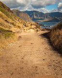 Hiking Landscape Hawaii. Hiking trail landscape at Kaena Point National Park on north shore of Oahu, Hawaii Stock Images