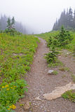 Hiking Trail leading into foggy valley  in Glacier National Park. Stock Photography