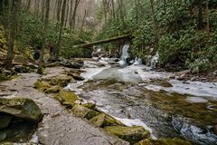 A Hiking Trail by Little Stony Creek. In the wintertime located Jefferson National Forest, Giles County, Virginia, USA stock photography