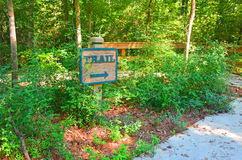 Hiking trail marker. At Big Thicket National Preserve Royalty Free Stock Image
