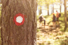 Hiking trail marker Stock Photos