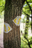 Hiking trail marker Stock Images