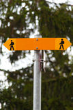 Hiking Trail Markers. Trail Signage for hikers in Switzerland Stock Images