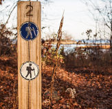 Hiking trail markers Stock Photography