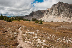 Hiking Trail Through the Medicine Bow. Photograph of one of the high mountain trails that takes hikers deep into the Medicine Bow Mountains of Wyoming royalty free stock photos