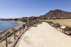 Hiking trail at the mediterranean coast in Spain Royalty Free Stock Images