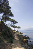 Hiking trail on the mediterranean sea Stock Photography