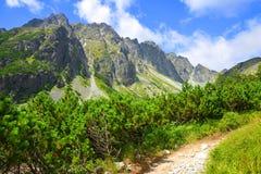 Hiking trail in Mengusovska Valley, Vysoke Tatry (High Tatras), Slovakia Stock Image