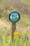 Hiking trail mile marker Stock Photography