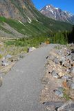 Hiking trail on Mount Edith Cavell. Hiking trail on the ridge of Mount Edith Cavell stock image