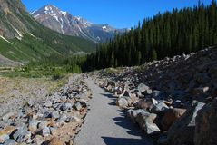 Hiking trail on Mount Edith Cavell. Hiking trail on the ridge of Mount Edith Cavell royalty free stock photo