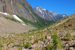 Hiking trail on Mount Edith Cavell. Hiking trail on the ridge of Mount Edith Cavell royalty free stock photography