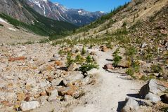 Hiking trail on Mount Edith Cavell. Hiking trail on the ridge of Mount Edith Cavell stock photography