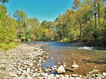 Oconaluftee River. A hiking trail at The Mountain Farm Museum and Oconaluftee Visitor Center leads to the Oconaluftee River Stock Photos