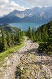 Hiking trail on mountain ridge Stock Photos