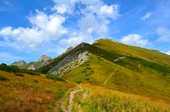 Hiking trail on the mountain ridge, High Tatras, Slovakia royalty free stock photography