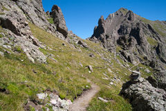 Hiking Trail through the Mountains. A hiking trail from Crestone Needle peak to Broken Hand Pass, Colorado Stock Photography