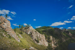 Hiking trail. Mountains and forests on the tourist trail Path of the ancestors in Khakassia Royalty Free Stock Photography