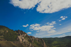 Hiking trail. Mountains and forests on the tourist trail Path of the ancestors in Khakassia Stock Images