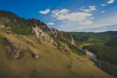Hiking trail. Mountains and forests on the tourist trail Path of the ancestors in Khakassia Stock Image