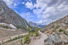 Hiking trail in Mt. Edith Cavell. Glacier , Jasper National Park, Alberta, Canada royalty free stock images