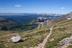 A hiking trail in the Mt Evans Wilderness. Looking out over the continental divide Royalty Free Stock Photos