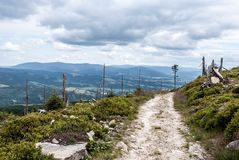 Hiking trail near Kralicky Sneznik hill with Jeseniky mountain range on the background in Czech republic. During summer day with blue sky and clouds Royalty Free Stock Photography
