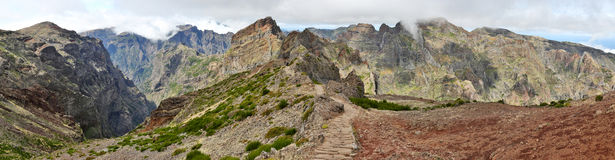 Hiking Trail near Pico do Arieiro; Madeira 02. Hiking Trail near Pico do Arieiro; Madeira, Portugal - Panorama stock photography